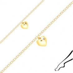 Náramek na kotník ze stříbra zlaté barvy - lesklé srdíčko, černý zirkon