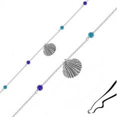 Náramek ze stříbra 925 na kotník - mořská mušle, čtyři modré kuličky