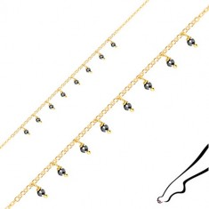 Stříbrný náramek na kotník 925 - kuličky z pyritu, zlatá barva, karabinka