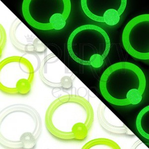 Piercing kroužek - kulička svítící ve tmě