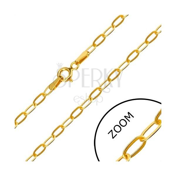 Řetízek ve žlutém 14K zlatě - plochá podlouhlá očka, perový kroužek, 550 mm