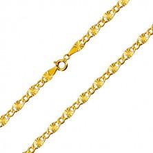 Řetízek ze žlutého 14K zlata - plochá očka, paprskovité zářezy, šestiúhelníková očka, 500 mm