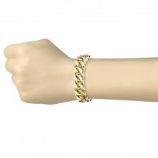 Ocelový náramek zlaté barvy - větší oválná očka, sériové napojování