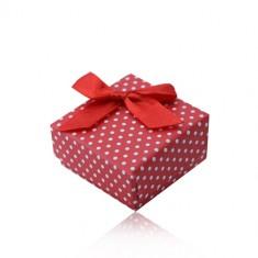 Červená dárková krabička na prsten nebo náušnice, bílé tečky, mašlička Y38.12