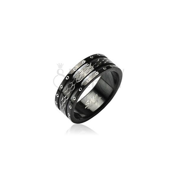 Ocelový prsten vlnky - kroužky po obvodu