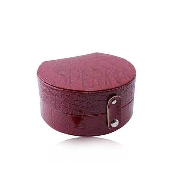 Červená šperkovnice - imitace krokodýlí kůže, půlkruhový tvar, patentové zapínání