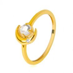 Prsten ve žlutém 9K zlatě - půlměsíc se zirkonkem, kulatý zirkon ve tvaru kabošonu