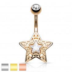 Ocelový piercing do bříška - vyřezávaná hvězdička s blýskavým zirkonem uprostřed