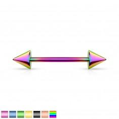 Piercing z chirurgické oceli - dva hroty, úprava titanem, různé barevné kombinace, 7,5 mm