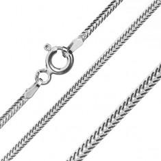 Řetízek ze stříbra 925, zploštělá, šikmo uložená očka, šířka 1,6 mm, délka 550 mm