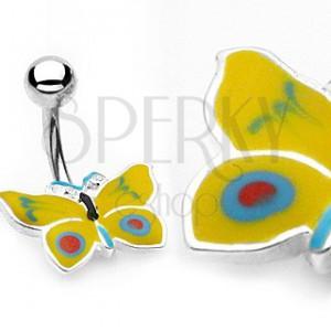 Piercing do pupíku žluto-modrý motýlek