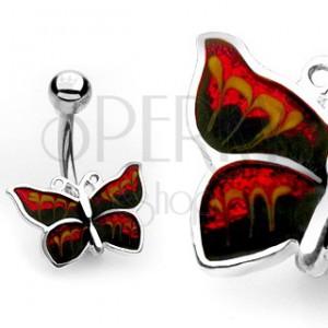 Piercing do pupíku - třpytivý motýl
