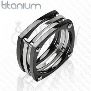 Titanový prsten - tři čtverce spojené nýty