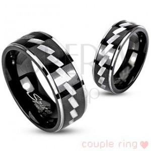 Prsten pro páry z chirurgické oceli - gravírovaný vzor