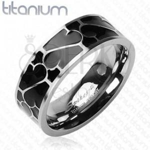 Titanový prsten - černá glazura s ornamentem