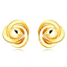 Zlaté 9K náušnice - tři propletené prstence s hladkou kuličkou, puzetky