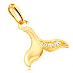 Zlatý přívěsek 375 - velrybí ploutev zdobená třemi drobnými zirkonky