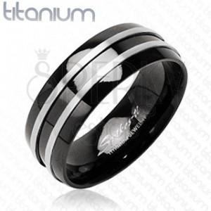 Černý prsten z titanu - dva stříbrné tenké pásy