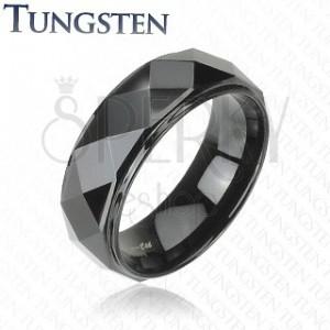Wolframový prsten - černý, zkosené hrany