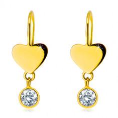 Náušnice ve žlutém 14K zlatě - souměrné ploché srdíčko a kulatý čirý zirkon v objímce