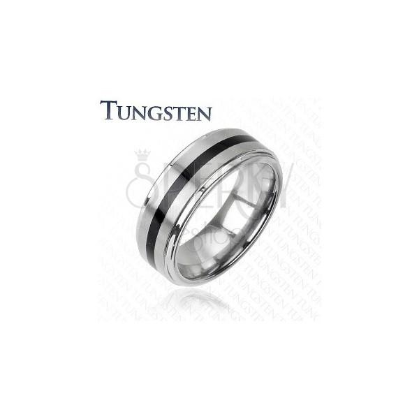 Wolframový prsten stříbrné barvy - černý středový pás