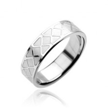Prsten z chirurgické oceli - mozaikový vzor