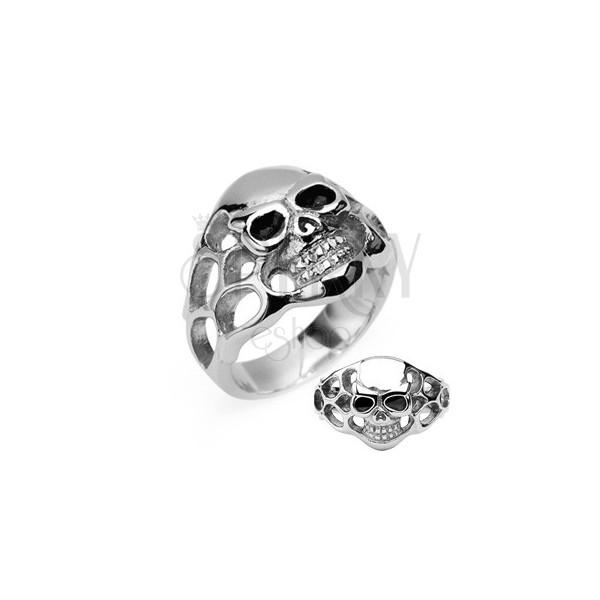 Prsten z chirurgické oceli - lebka, černé oči