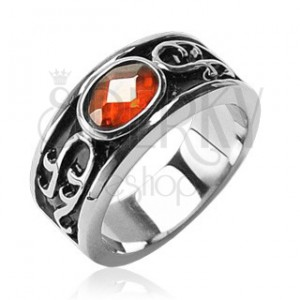 Prsten z chirurgické oceli - oranžový kamínek a ornamenty