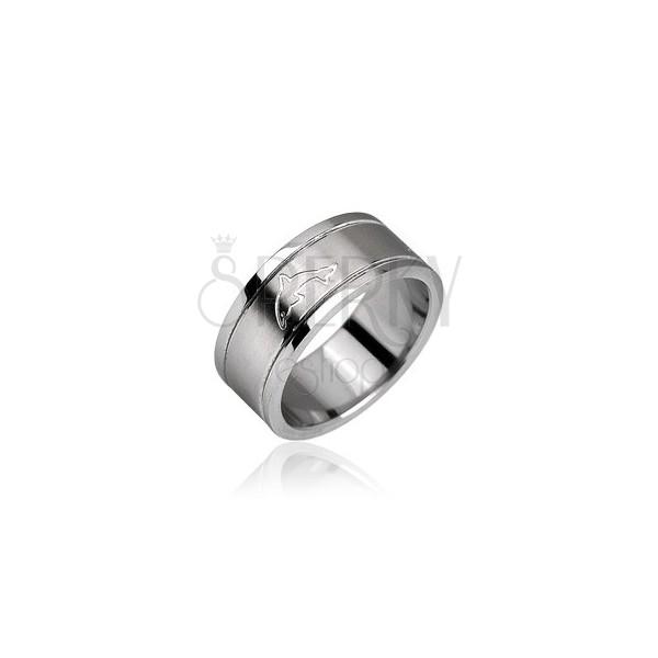 Prsten z chirurgické oceli - lesklý, motiv delfín