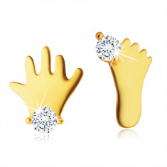 Puzetové náušnice ve žlutém 14K zlatě - silueta nožičky a ručičky s čirým zirkonem