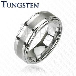 Wolframový prsten - stříbrný, jemně broušený pás