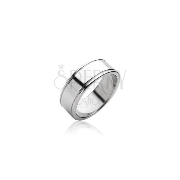 Ocelový prsten hladký matný, lesklé okraje