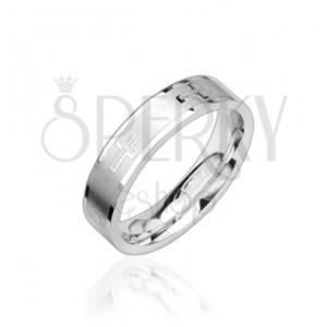 Ocelový prsten lesklý, krížky