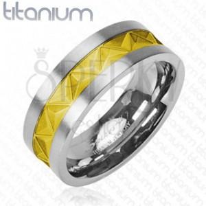 Titanový snubní prsten stříbrně - zlatý vzor