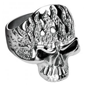 Prsten z chirurgické oceli, lebka s plameny