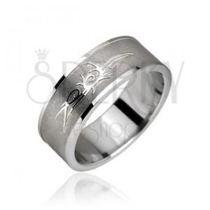 Prsten z chirurgické oceli - Tribal symbol, ornament