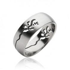 Prsten z chirurgické oceli - vyrytá ještěrka H11.1