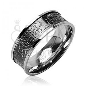 Prsten z chirurgické oceli - krokodýlí kůže