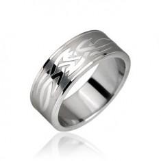 Prsten z chirurgické oceli - motiv Tribal H12.5/H12.6/H12.7