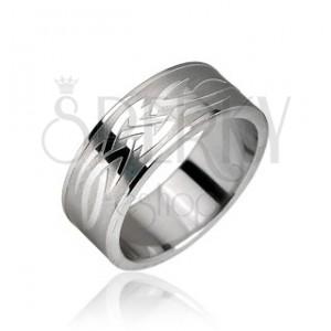 Prsten z chirurgické oceli - motiv Tribal