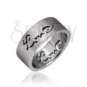 Prsten z chirurgické oceli - vyrytý nápis LOVE