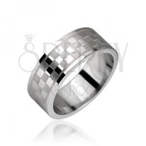 Ocelový prsten, vzor šachovnice
