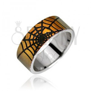 Prsten z chirurgické oceli - zlatá pavučina a srdce