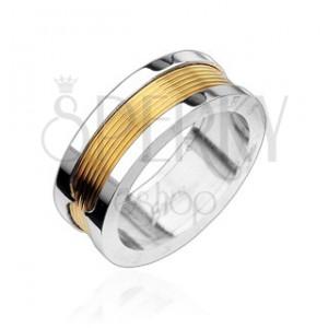 Prsten z chirurgické oceli - pozlacený středový pás