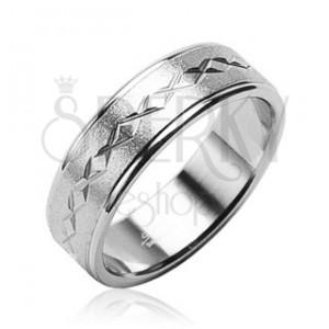 Prsten z chirurgické oceli matný, hvězdičky