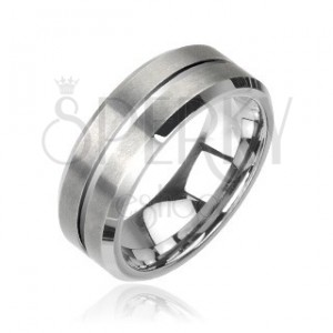 Wolframový prsten stříbrný broušený
