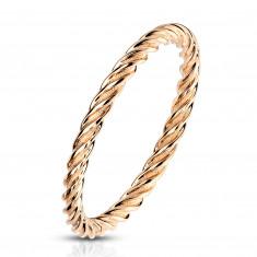 Prsten z oceli měděné barvy - pruhy zatočené do tvaru lana, 2 mm