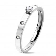 Ocelový prsten stříbrné barvy - kulatý zirkon v kotlíku, čiré zirkony, 3 mm