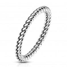 Prsten z oceli ve stříbrné barvě - zatočené lesklé proužky, 2 mm