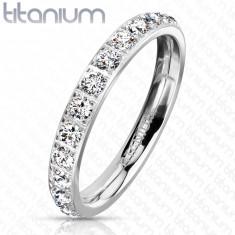 Titanový prsten ve stříbrné barvě - kulaté blýskavé zirkony, 3 mm